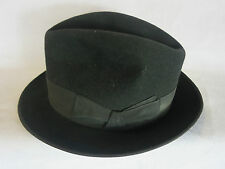 Trilby Hat-black-Belmondo Hats/ Albertini,Italy-7 1/8-22.5 in circumference-GRC2