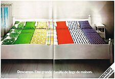 Publicité Advertising 1973 (2 pages) Linge de maison Draps Descamps