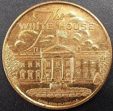 """Vintage """"The White House"""" and """"U.S. Capitol, Washington D.C."""" brass token!"""