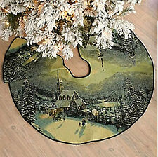 Thomas Kinkade Moonlit Village Christmas Tapestry Tree Skirt