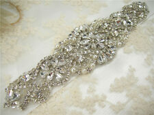 Gorgeous Beaded Motif Diamante Bridal Applique Rhinestone Pearl Wedding Applique