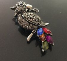 Marcasite & Crystal Parrot Brooch with Bold Multicolor Crystal Tail Feathers 3""
