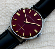 VINTAGE GIRARD PERREGAUX BURGUNDY ENAMEL DIAL  33.6MM CASE JUST SERVICED