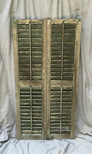 Pair Vtg House Window Wood Louvered Shutter Shabby Old Chic 13 x 50 1138-16