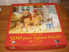 """500 PC PUZZLE """"MAKING FRIENDS"""" CHRISTMAS W/ ANIMALS BY SUNSOUT"""