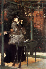 Beautiful Oil painting Tissot - At the Rifle Range Lady play shooting & Rifle