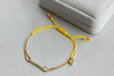New Gold Color Plated Dot Pave Wishing  Good Luck Rhinestone Yellow Bracelet