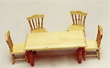 1:12 Scale 12th Scale Pine Dolls House Table & Chairs Dining Room Table 4 Chair