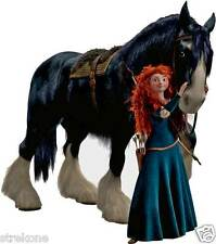 "Pixar Walt Disneys BRAVE ""MERIDA & ANGUS"" Shire HORSE -WindoCling Stick-On Decal"