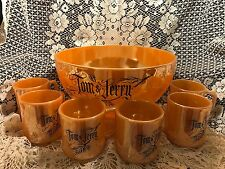 "Fire King Anchor Hocking Vintage Tom Jerry's Peach Luster 10"" Punch Bowl 6 Mugs"