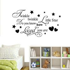 Nursery Wall Sticker Quote, Twinkle Twinkle Little Star, Girl Boy Bedroom Decal