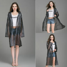 Women New Black Hooded Raincoat PVC Waterproof Poncho Coat Long Sleeve XL