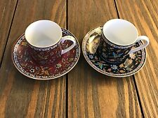 Pair Takahashi San Francisco Hand Decorated Coffee Cups & Saucers 'Silk Road'