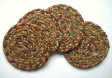"Homespice Decor HARVEST Braided Jute 4"" Coasters Set of 4"