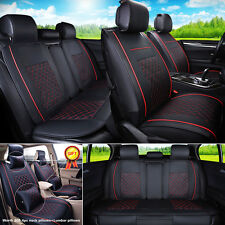 L Size Auto Car 5-Seats PU Leather Seat Cover Front+Rear Neck Lumbar Pillow Set