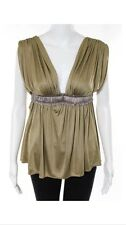 NWT $250 FOLEY + & AND CORINNA 100% SILK JERSEY GOLD SOLID GRECIAN BLOUSE TOP XS
