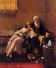 Oil painting rudolf ernst - the musician young arab girl with old man sitting
