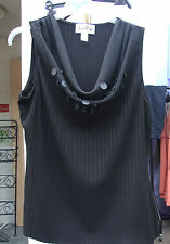 Joseph Ribkoff UK 10 BNWT Fabulous Black Ribbed Top Cowl Neck & Plastic Discs