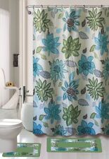 Lily Flower Turquoise 15-Piece Bathroom Set Bath Rugs Shower Curtain Rings Blue