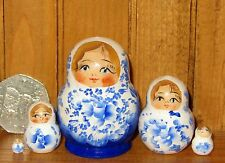 Russian STACKING doll 5 hand painted tiny Light Dark BLUE Matrioshka MINIATURE