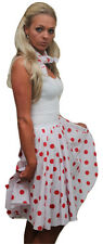 "26"" White & Red Full Circle Rock N Roll Skirt & Scarf"