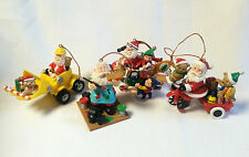 Santa Christmas Ornament Lot Front End Loader Plane Toy Painter Trike Set of 4