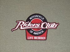 Genuine Motorcycle Riders Club of America life member embroidered patch new