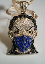"Iced Out Gold Finish Goon Blue Mask Man Pendant w/ 4mm 36"" Franco Chain"