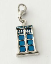 LOVELY SILVER & BLUE POLICE BOX CLIP ON CHARM FOR BRACELET-TIBETIAN SILVER - NEW