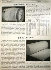 JOHNS-MANVILLE Asbestos Cloth Clothing Tubing & Safety Curtains 1940
