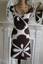 Diane Von Furstenberg Medium Sleeveless Silk Wrap Dress Brown PERFECT 12 14