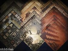 12X12 Scrapbook Paper Cardstock DCWV Tattered Time Stack Steampunk Wheels 24 Lot