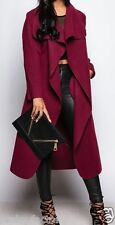 Ladies Womens LONG Waterfall Trench COAT Collar Belt Jacket Lush Wrap PLUS 8-20