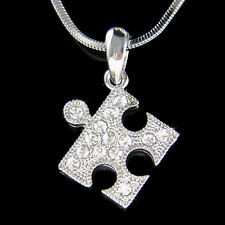 w Swarovski Crystal ~Jigsaw Puzzle~ Child Autism Cancer Awareness Charm Necklace