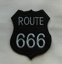 Goth Biker 90 x 75mm Silver Route 666 Highway to Hell Iron/Sew on Patch