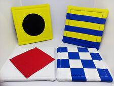 """Coasters Nautical Signal Flag Theme  approx 4"""" X 4"""" Multi-color Fabric gift idea"""
