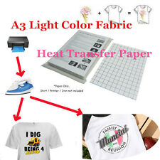 DIY T-Shirt Inkjet Iron-On Heat A3 Transfer Paper For Light Color Fabric Cloth