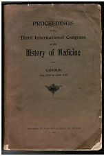 VERY RARE London 1922 Proceedings 3rd International Congress History of Medicine
