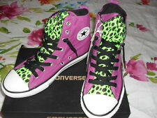 Converse All Stars violet and green No time to lace Hi tops size 5 women/men NIB