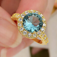 SZ 5.5 Aquamarine Gems Engagement Ring Women's 10KT yellow Gold Filled Jewelry
