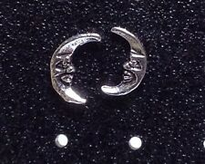 Sterling Silver Moon Design Post / Stud Earrings. 1 matched Pair. Real Silver !