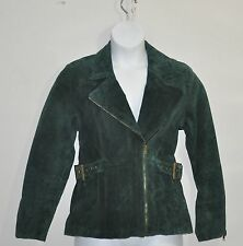 Linea by Louis Dell'Olio Asymmetrical Zip Front Suede Jacket Plus Size 3X Green