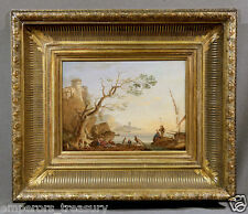 """Fishermen by Harbor"" 18th Century Claude Joseph Vernet Oil Painting (FRENCH)"