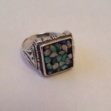 Antique / Vintage Scandia Solid Silver & Opal Chip Ring UK Size T USA 9 1/2.