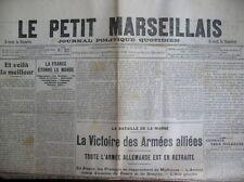 WW1 BATAILLE DE LA MARNE VICTOIRE ARMéES ALLIéES LE PETIT MARSEILLAIS 13/9/1914