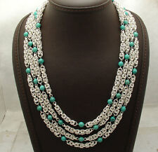 "18"" Byzantine Chain Genuine Turquoise Gemstone Necklace REAL Sterling Silver"