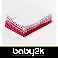 6 Pack 100% Cotton Baby Muslin Squares Face Cloth Burp 70x70cm - Pink and White