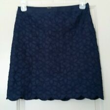 Talbots Petites Solid Navy Linen Skirt w/Floral Embroidery Scalloped Hem Size 6P
