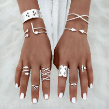 8Pcs/Set  Boho Women Stack Plain Above Knuckle Ring Silver Midi Finger Tip Rings