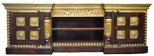 Antique Timber Moroccan TV Entertainment Unit Indian Pressed Brass Metal